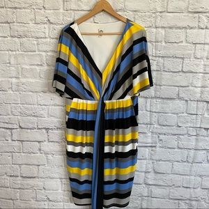 SANGRIA Striped Midi Dress with Belt